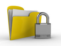 Yellow computer folder with lock. Isolated 3d image Stock Images
