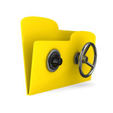 Yellow computer folder with lock Stock Photos
