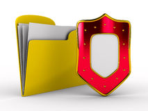 Yellow computer folder with shield Stock Photography