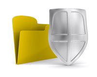 Yellow computer folder with shield Royalty Free Stock Photography