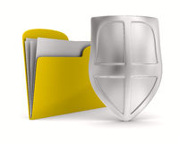 Yellow computer folder with shield Royalty Free Stock Photos