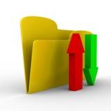 Yellow computer folder on white background Stock Photo