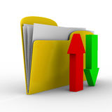 Yellow computer folder on white background Stock Image