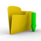 Yellow computer folder on white background Royalty Free Stock Photography