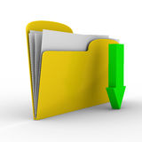 Yellow computer folder on white background Stock Photos