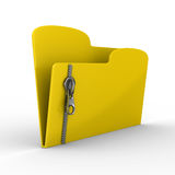 Yellow computer folder with zipper Stock Photo