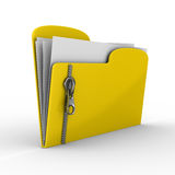 Yellow computer folder with zipper Royalty Free Stock Photography