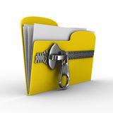 Yellow computer folder with zipper Royalty Free Stock Photo