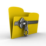 Yellow computer folder with zipper Royalty Free Stock Images