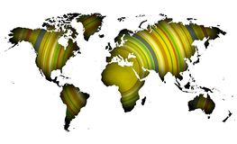 Yellow concentric worldmap with perimetral shadows. stock illustration