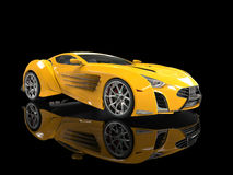 Yellow concept supercar on black Stock Image