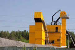 Yellow concret factory. For contruction new road Royalty Free Stock Image