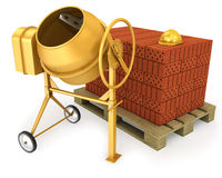 Yellow concrete mixer with helmet and bricks Stock Photo