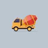 Yellow Concrete Mixer Truck. Flat style icons. Stock Photo