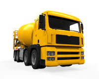 Yellow Concrete Mixer Truck. Isolated on white background. 3D render Stock Images
