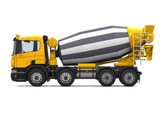 Yellow Concrete Mixer Truck. Isolated on white background. 3D render Royalty Free Stock Photography