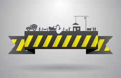 Yellow construction banner for infographics title Royalty Free Stock Photos