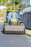 Yellow construction bulldozer tractor Stock Photo
