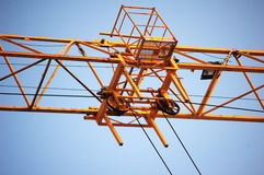 Yellow construction crane Royalty Free Stock Photos