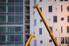 Yellow construction crane Stock Image