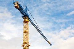 Yellow construction crane Stock Photo