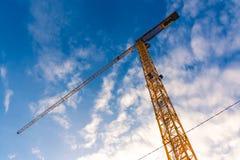 Yellow Construction Crane Closeup Bottom Equipment Outdoors Blue Royalty Free Stock Photo