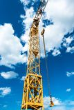 Yellow construction crane detail Royalty Free Stock Photography
