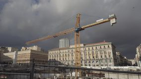 Yellow construction crane in Naples stock video footage