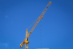 Yellow construction crane Royalty Free Stock Images