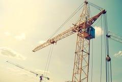 Yellow construction crane. Stock Image