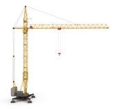 Yellow construction crane  on white Royalty Free Stock Photo