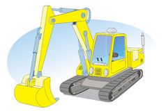 Yellow construction excavator. Tracked excavator for construction work Stock Illustration