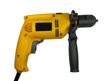Yellow construction hand drill isolated Royalty Free Stock Photo