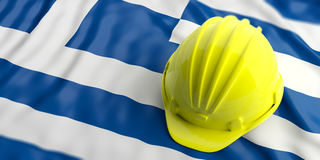 Yellow helmet over Greece flag. 3d illustration. Yellow construction hat over Greece flag. 3d illustration Royalty Free Stock Image