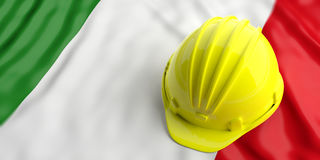 Yellow helmet over Italy flag. 3d illustration Stock Image
