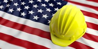 Yellow helmet over America flag. 3d illustration. Yellow construction hat over USA  flag. 3d illustration Stock Image
