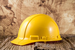 Yellow construction hat Stock Photos