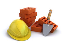 Construction helmet with bricks and trowel. Yellow construction helmet with a bunch of bricks and trowel on the white background (3d render&#x29 Royalty Free Stock Image