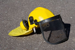 Yellow construction helmet Royalty Free Stock Image