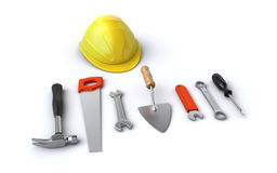 Construction helmet and tools Stock Photos