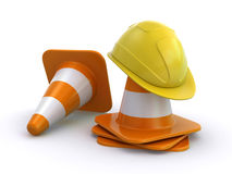 Construction helmet and traffic cones Royalty Free Stock Photography