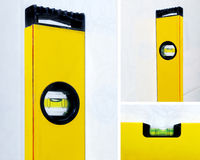 Yellow construction level. Collage with three yellow construction level Royalty Free Stock Images