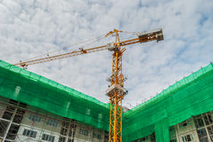 Yellow construction tower crane Royalty Free Stock Photos
