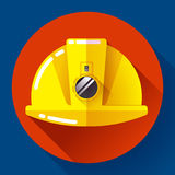 Yellow construction worker helmet with flashlight icon. Flat design style. Yellow construction worker helmet with flashlight icon. Flat design style Royalty Free Stock Photos