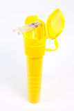 Yellow container for used syringes Royalty Free Stock Photography