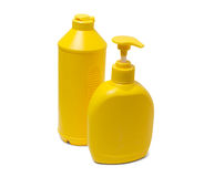 Yellow containers for detergents Royalty Free Stock Photography