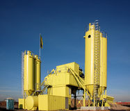 Yellow contruction site with silo Stock Images