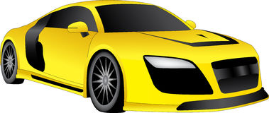 Yellow cool car. Cool yellow racing car on a white background Stock Photos
