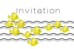 Yellow coral fish header template. Vector illustration Royalty Free Stock Photos