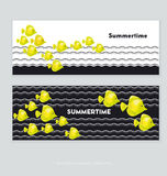 Yellow coral fish header template. Vector illustration Stock Images